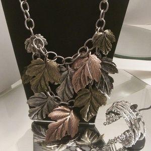 Ami Leaf Necklace bracelet & Earrings. A109
